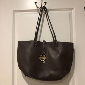 BCBG Reversible Brown & Black Leather Shoulder Bag